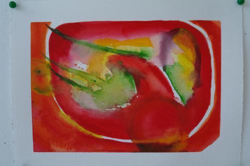Rød abstrakion 25X19, akvarel