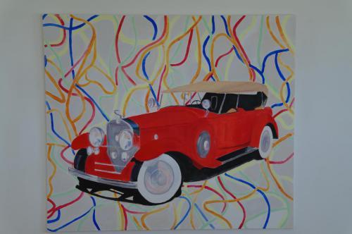Rød bil 130X150
